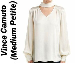 Vince Camuto Ivory Choker Neck V Blouse NWT $89 MP